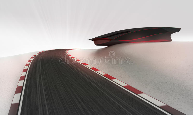 Snelheidsrenbaan die in openlucht rond futuristisch de bouwbehang leiden royalty-vrije illustratie