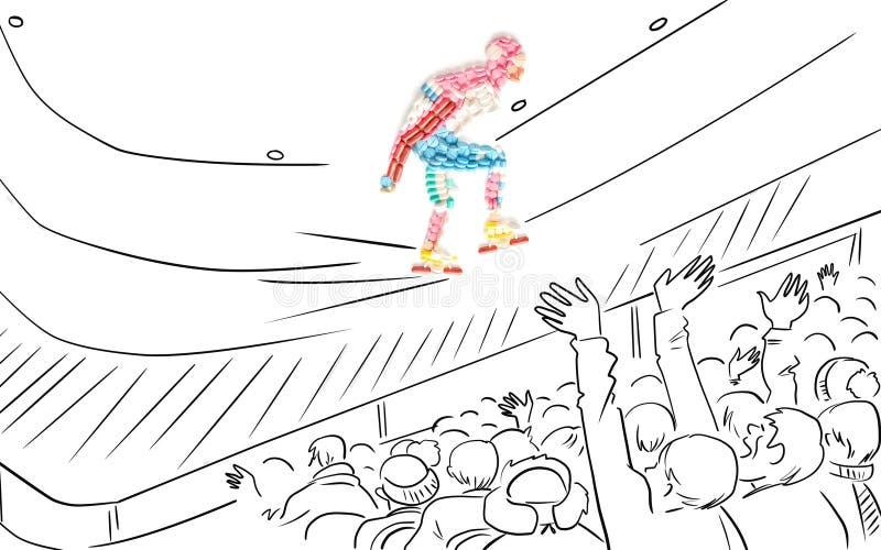 Snelheidsschaatser. royalty-vrije illustratie