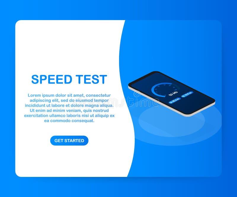 Snelheidstest aangaande smartphone De Snelheid van snelheidsmeterinternet 100 mb De ladingstijd van de websitesnelheid Vector ill vector illustratie