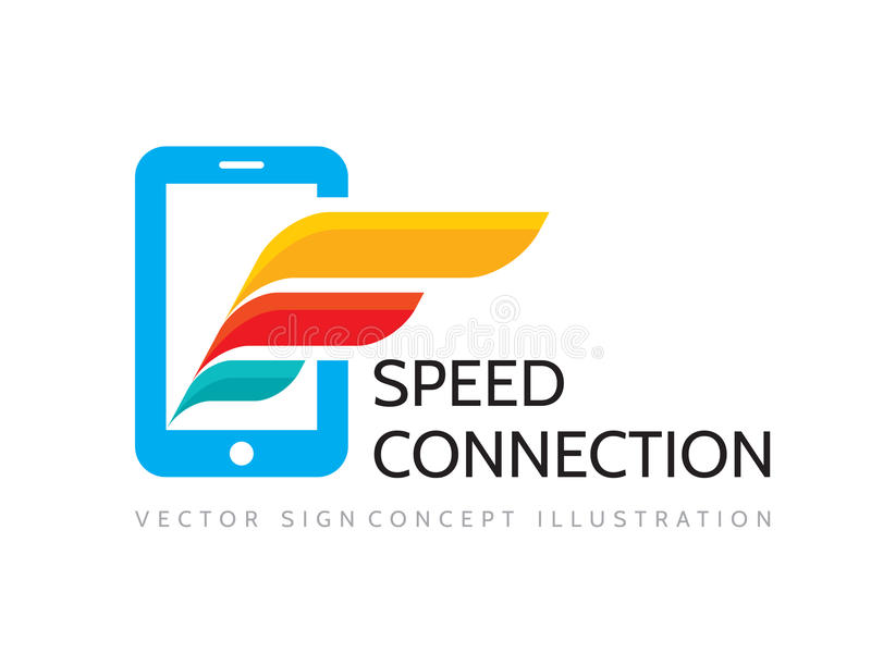 Snelheidsverbinding - vector bedrijfsembleemmalplaatje Mobiele telefoon en vleugel stock illustratie