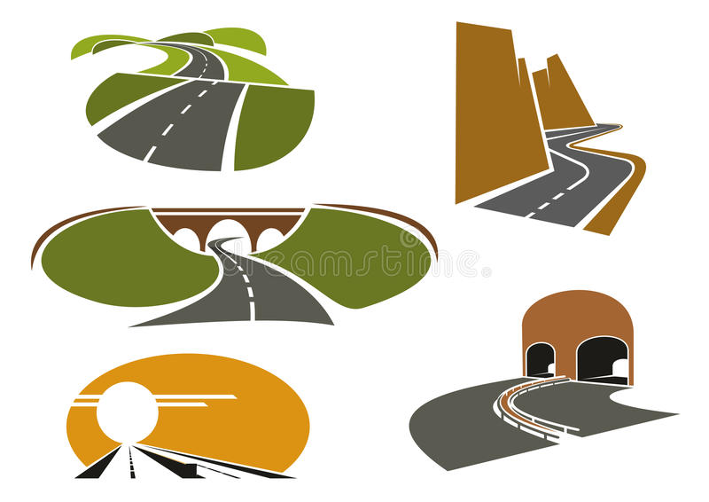 Snelheidswegen, snelwegen, onderdoorgang en wegen royalty-vrije illustratie