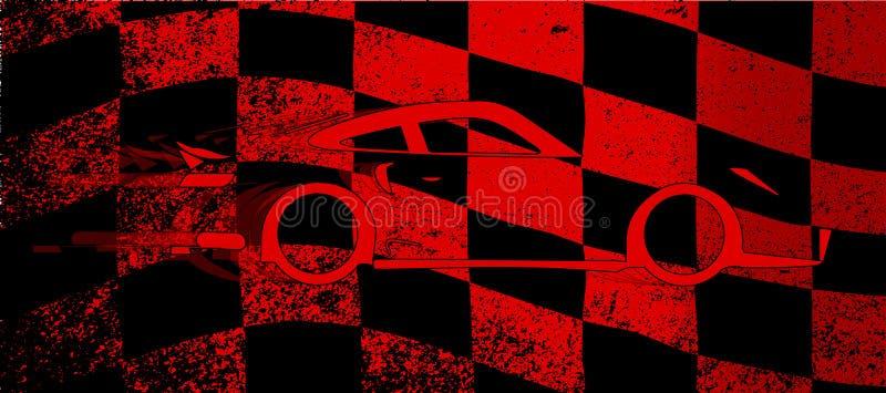 Snelle Auto Geruite Vlag stock illustratie