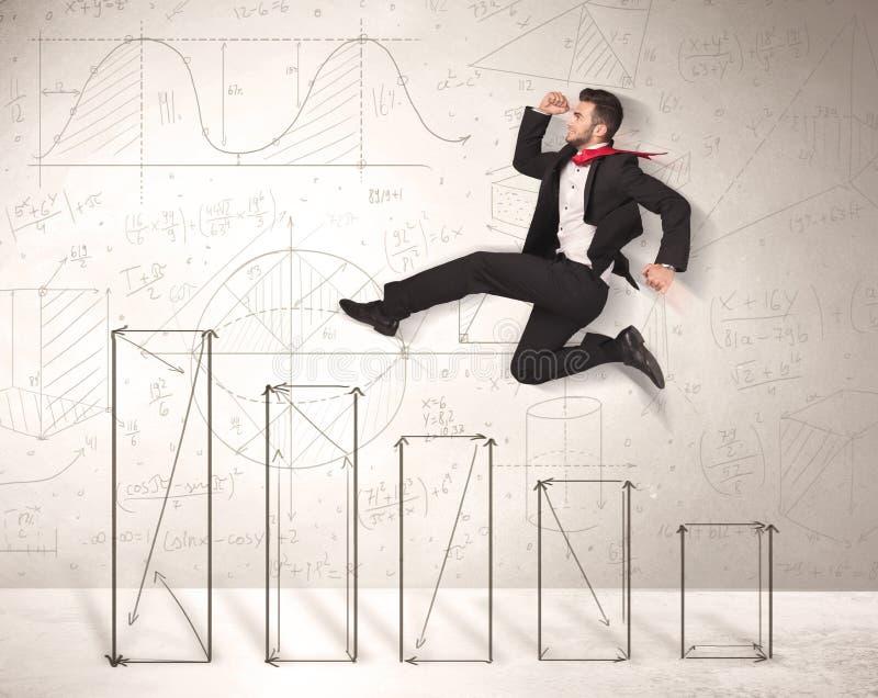 Snelle bedrijfsmens die omhoog op hand getrokken grafieken springen stock foto