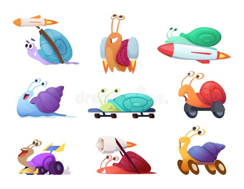 Snelle beeldverhaalslakken De bedrijfsconceptenkarakters van de concurrerende snelle leuke mascottes van het naaktslak vectorras  vector illustratie