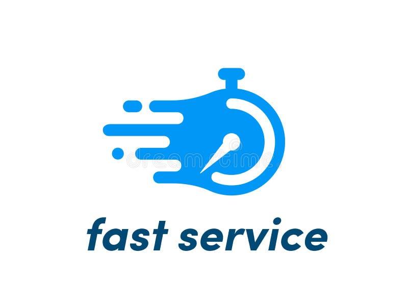 Snelle de dienstchronometer van het prikklok vectorembleem stock illustratie