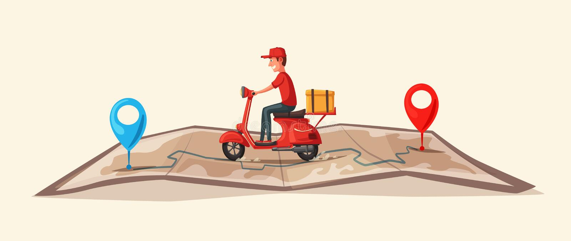 Snelle en vrije levering door autoped Vector beeldverhaalillustratie De voedseldienst royalty-vrije illustratie