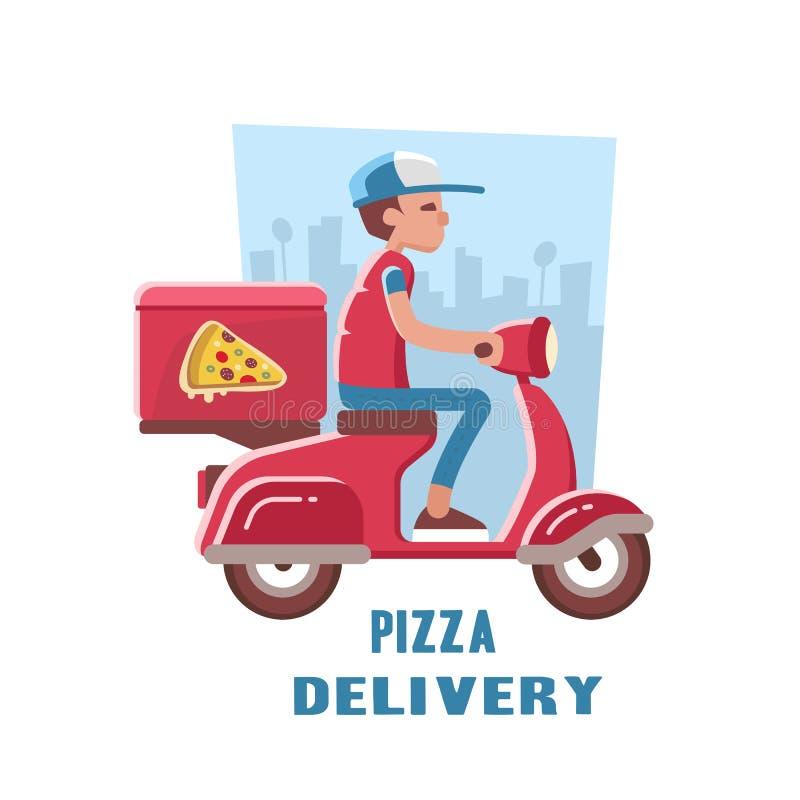 Snelle en vrije levering van pizza op de autoped royalty-vrije illustratie