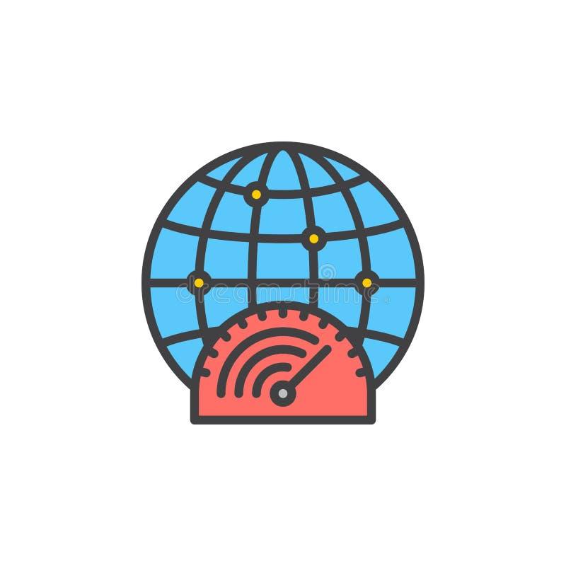 Snelle internetdiensten-het pictogram van de verbindingslijn, gevuld overzichts vectorteken, lineair kleurrijk die pictogram op w vector illustratie