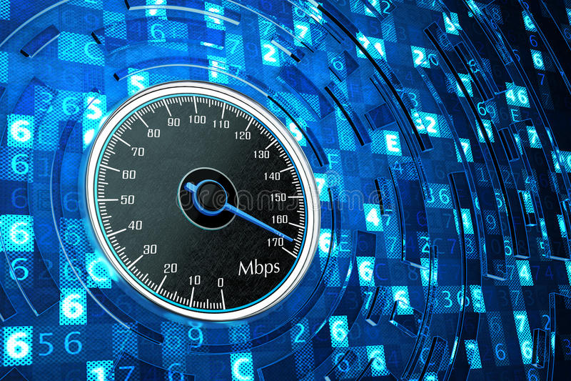 Snelle internetdiensten-verbinding, netwerkprestaties en computertechnologieconcept stock foto