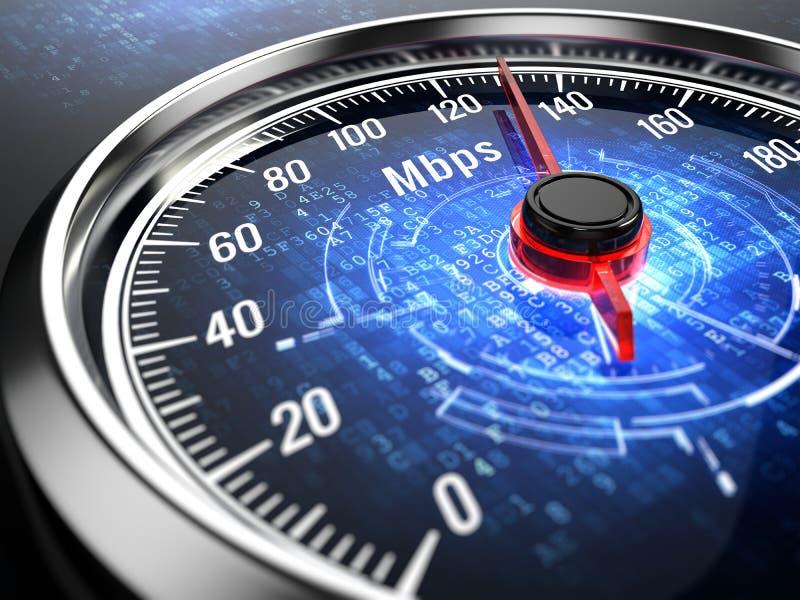 Snelle internetdiensten-verbindingsconcept - snelheidsmeter met Internet-verbindingssnelheid stock illustratie