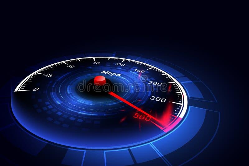 Snelle internetdiensten-verbindingsideeën, snelheidsmeter en Internet-verbinding Vector graphhics stock illustratie