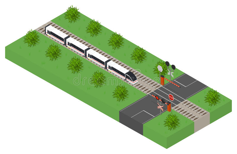 Snelle isometrische moderne trein Openbaar vervoer royalty-vrije illustratie