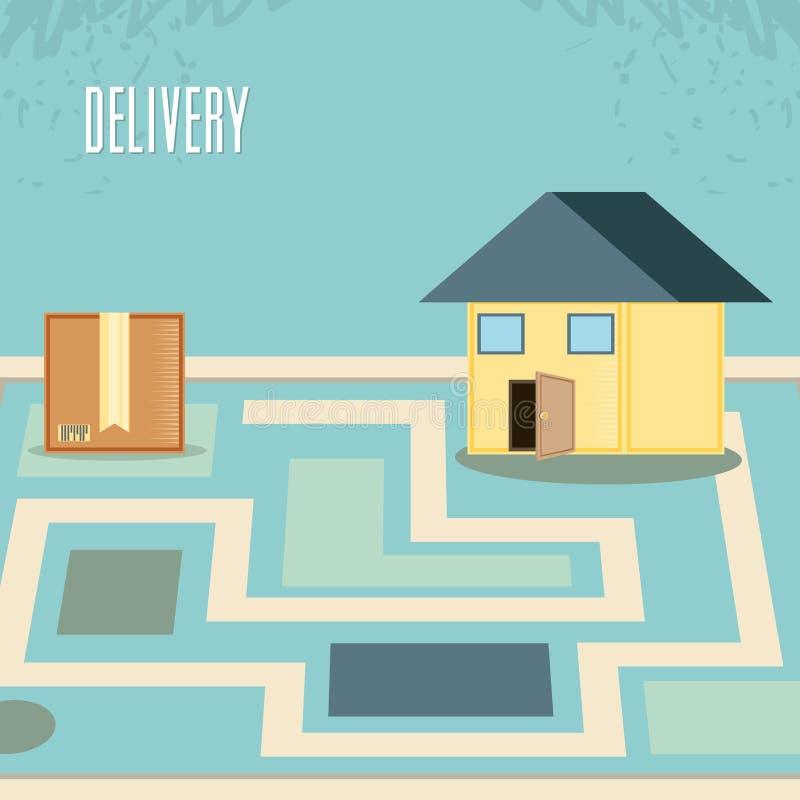 Snelle levering met doos en huisreis vectorilustration royalty-vrije illustratie