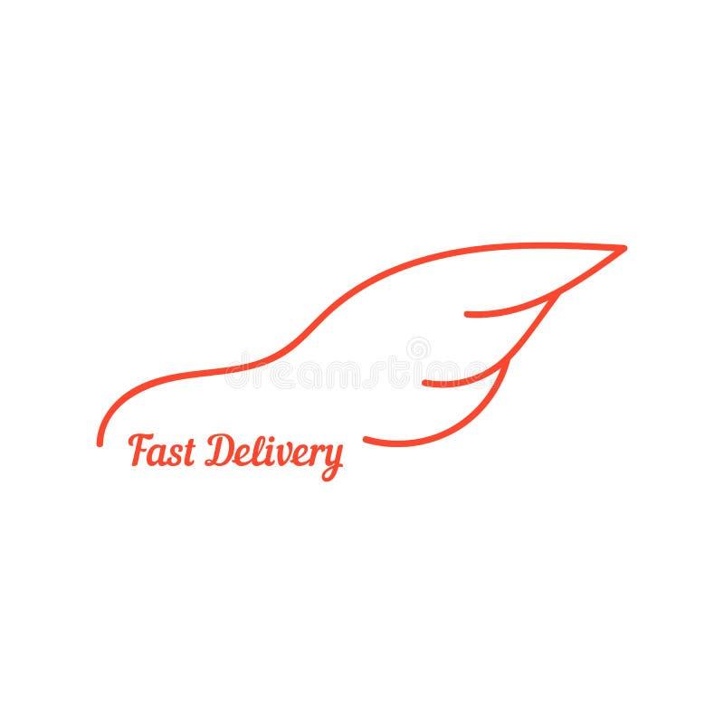 Snelle levering met vleugel zoals auto vector illustratie