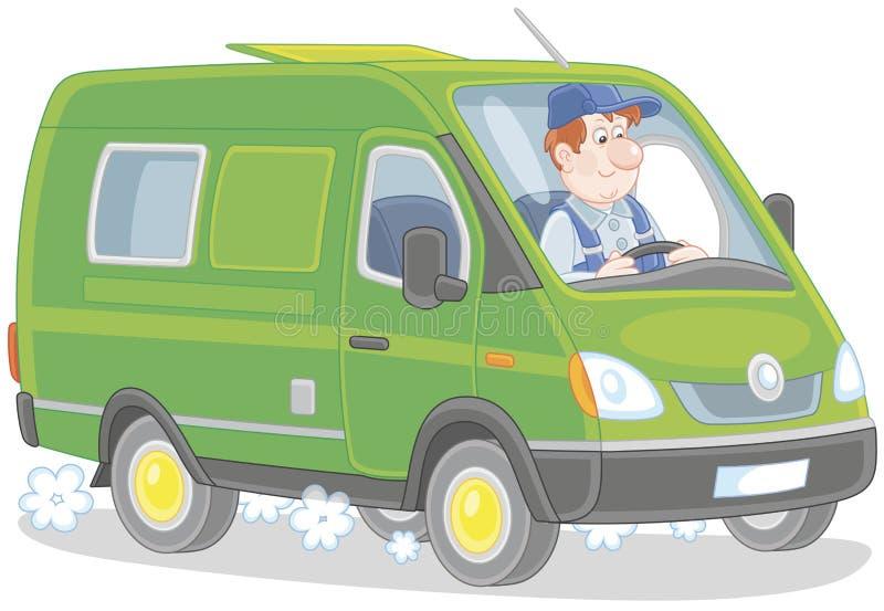 Snelle leveringsbestelwagen vector illustratie
