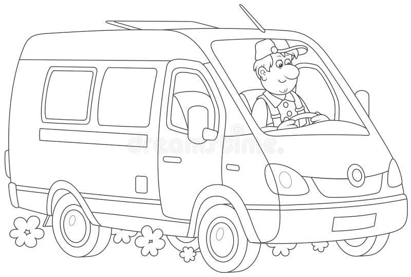 Snelle leveringsbestelwagen stock illustratie
