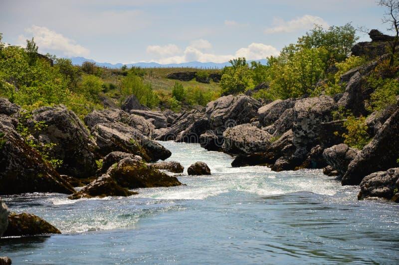 Snelle rivierstroomversnelling stock fotografie