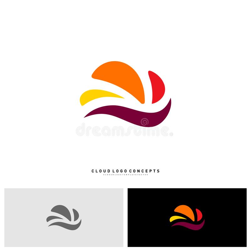 Snelle Wolk Logo Design Concept Vector Technologie-Wolk Logo Template Vector vector illustratie