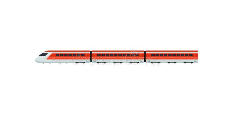 Sneltrein voor passagiers van luchthaven Elektrische trein Openbaar vervoer Vlak vectorelement voor mobiele toepassing of promo stock illustratie