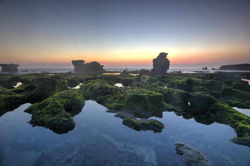 Snenic widok plaża w Bali zdjęcie stock