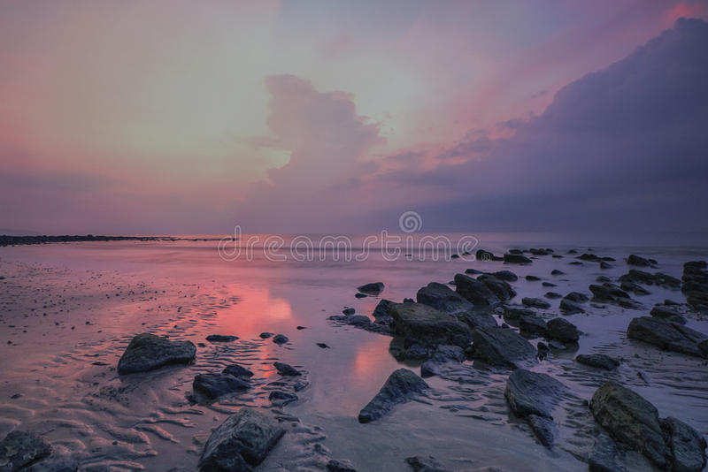 Snenic widok plaża w Bali fotografia stock