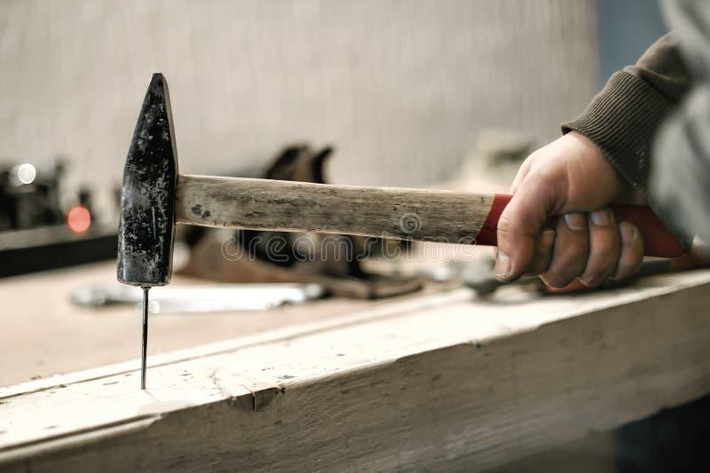 Snickare som använder hammaren för hans jobb i snickeriseminarium royaltyfria bilder