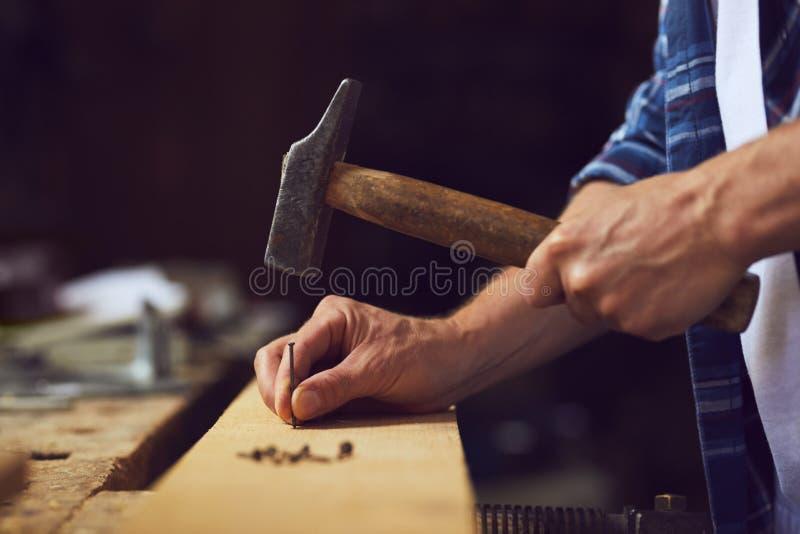 Snickare som bultar en spika in i träplanka fotografering för bildbyråer