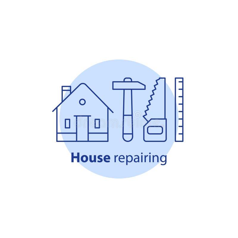 Snickarebegrepp, husreparationsservice, hemförbättring och underhåll, omdana och renovering, konstruktionsvektorsymbol royaltyfri illustrationer