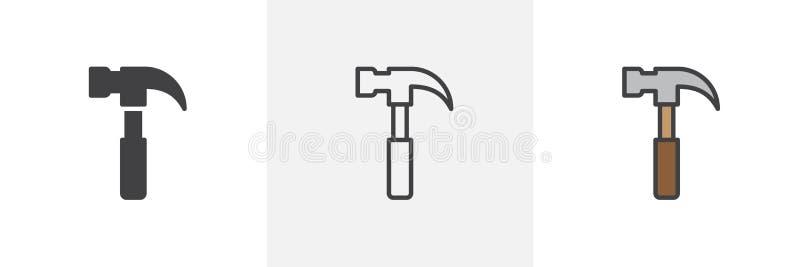 Snickarehammaresymbol stock illustrationer