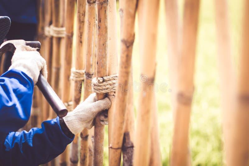Snickaren med att slå för hammare spikar arbetande konstruktion Asien för idén för begreppet för tekniken för bambustaketet tradi royaltyfri bild