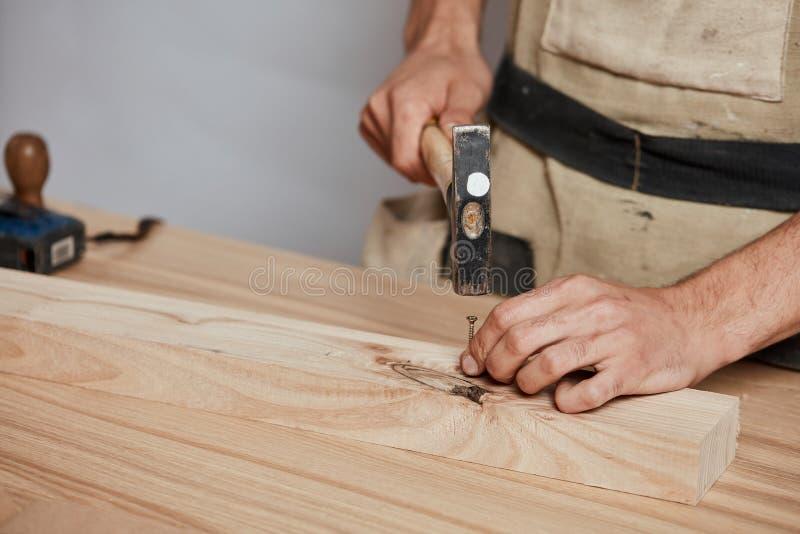 Snickaren som bultar ner, spikar till träplankan som gör ett möblemang arkivfoto