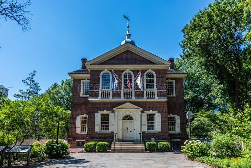 Snickares Hall i Philadelphias historiska område royaltyfri bild