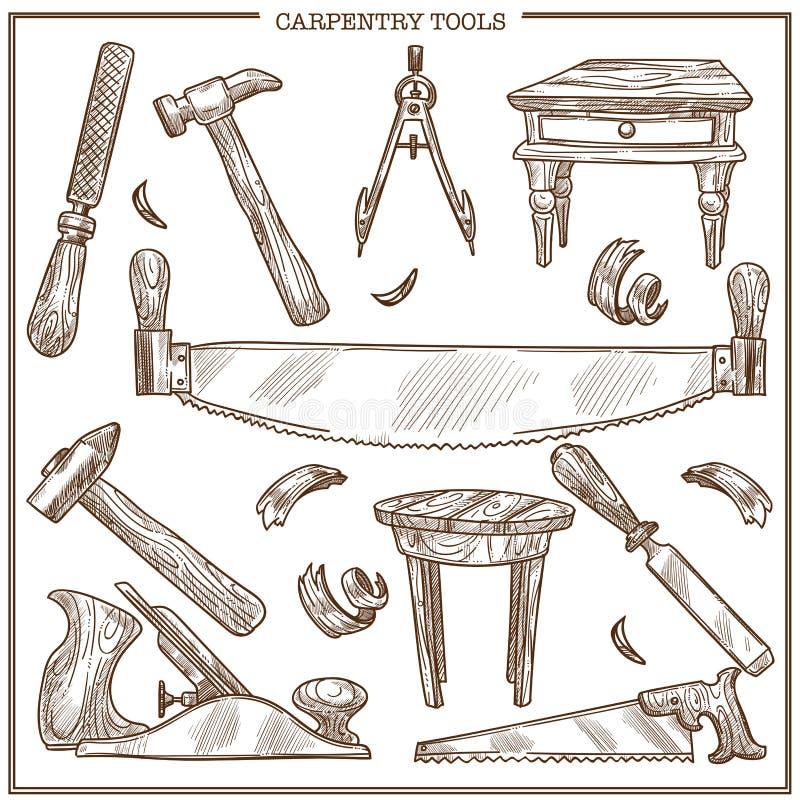 Snickerihjälpmedel skissar vektorsymboler ställde in för möblemangreparation och snickareträverk royaltyfri illustrationer