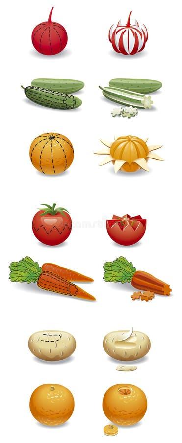 Snida frukter och grönsaker stock illustrationer