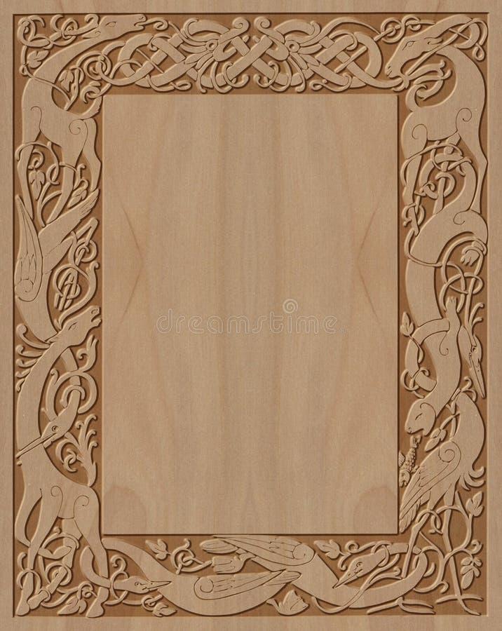Sniden celtic stil för träram stock illustrationer