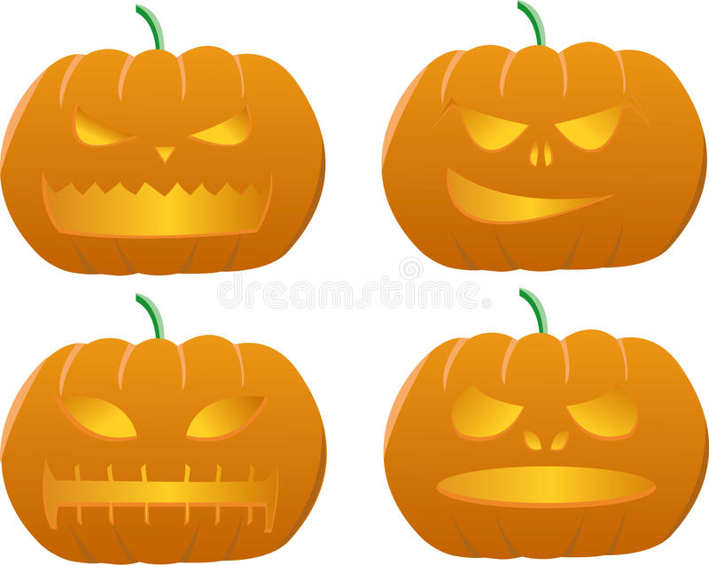 sniden halloween pumpa royaltyfri illustrationer