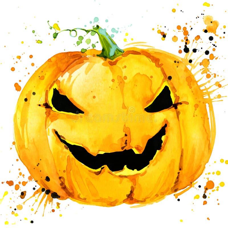 sniden halloween pumpa Vattenfärgillustrationbakgrund för ferieallhelgonaaftonen stock illustrationer