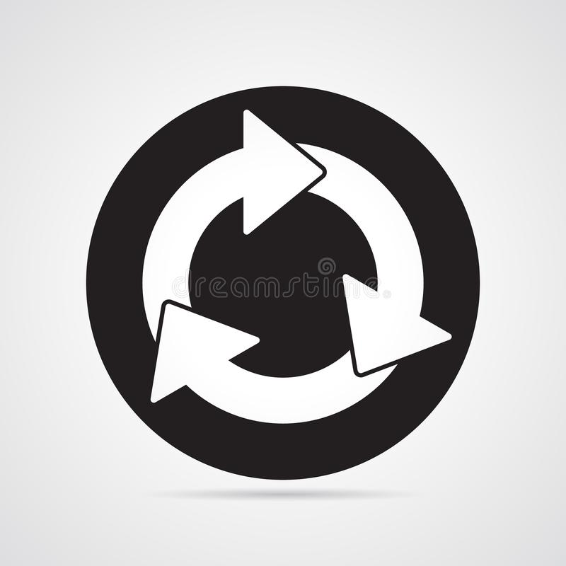 Sniden konturlägenhetsymbol, enkel vektordesign Oval med pilar för illustration av tid, cirkulering, royaltyfri illustrationer