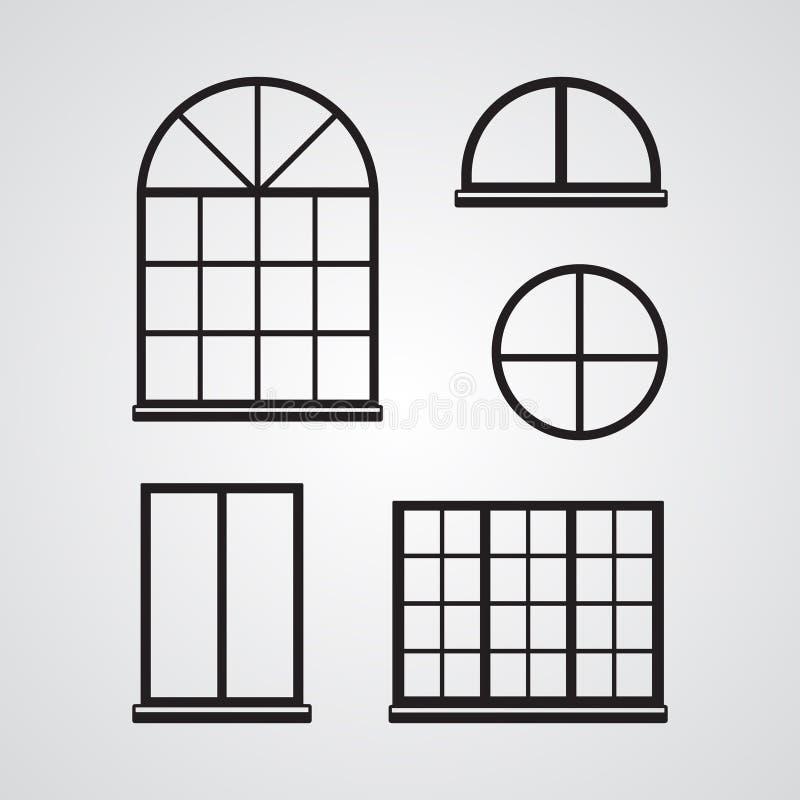 Sniden konturlägenhetsymbol, enkel vektordesign Uppsättning av classi vektor illustrationer