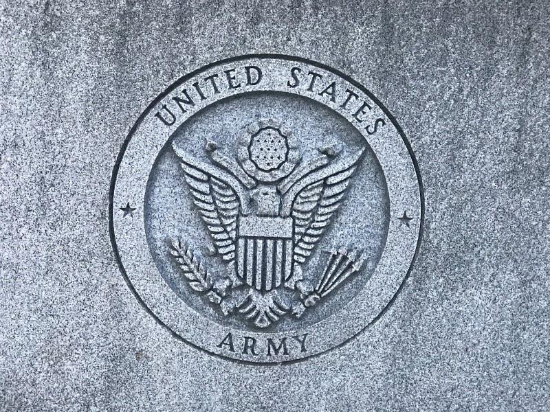 Sniden logo för USA-armé på minnesmärken till södra Carolina Veterans av Förenta staternakrigsmakten arkivbild