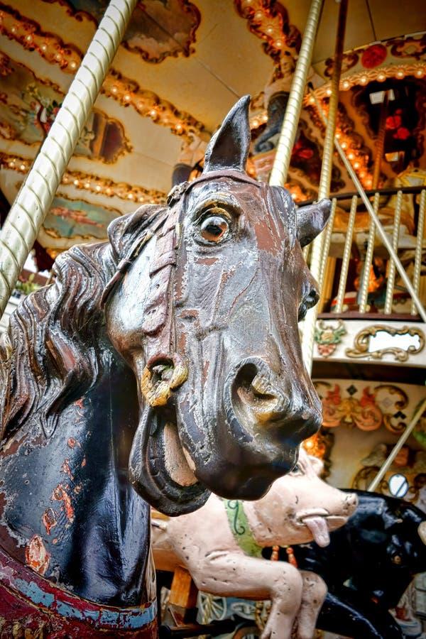 Snidit huvud för karusellhäst traditionellt gammalt trä royaltyfria foton