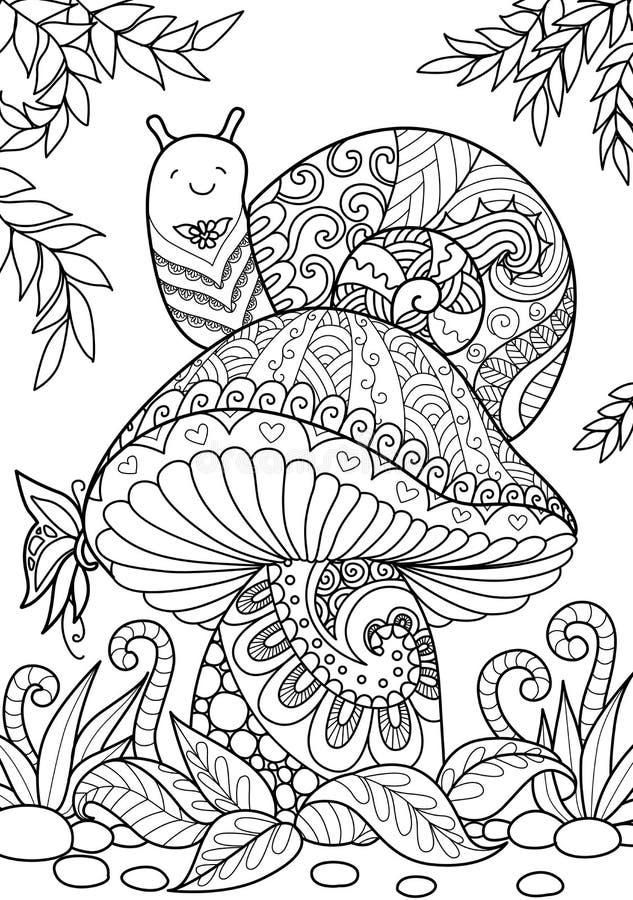 Snigel på champinjonen stock illustrationer