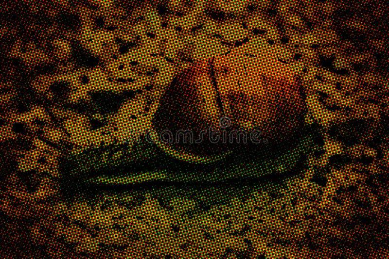 Snigel på stenen med gröna växter seamless texturvektor för extra djurt format royaltyfri illustrationer
