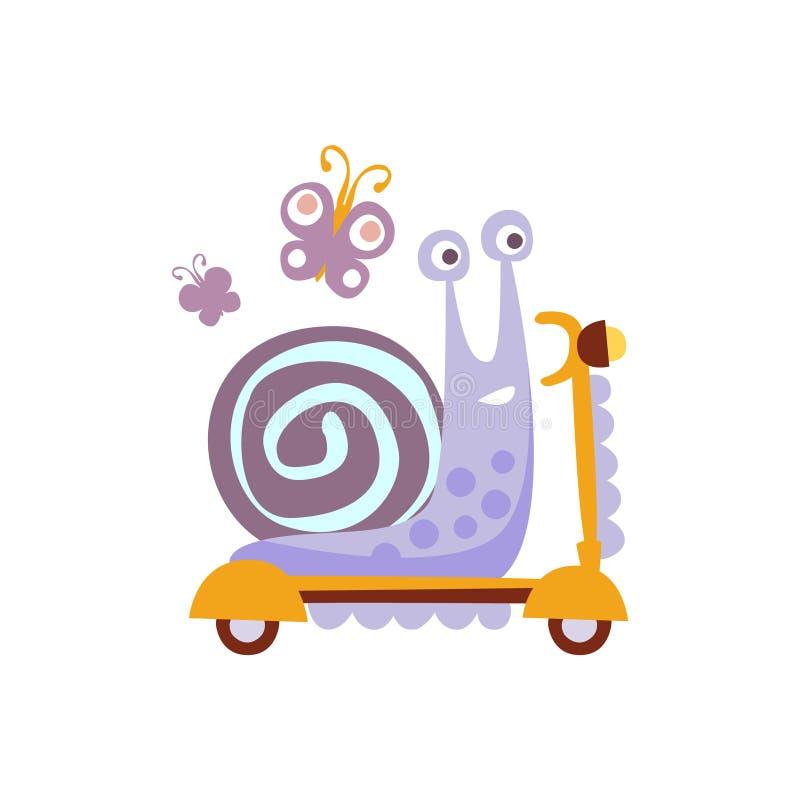 Snigel som rider en sparkcykel stiliserad fantastisk illustration royaltyfri illustrationer