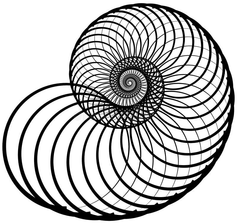 Snigel spiral som göras av roterande inåt cirklar Abstrakt beståndsdel I royaltyfri illustrationer