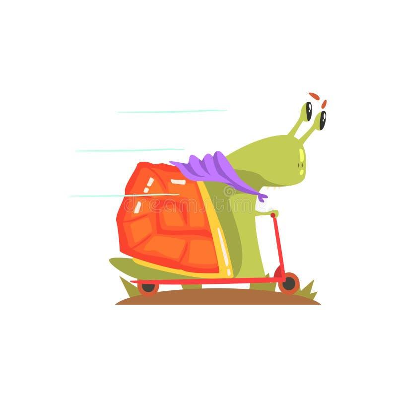 Snigelmonster i purpurfärgad halsduk som rider en sparkcykel, främling som campar och fotvandrar tecknad filmillustrationen stock illustrationer