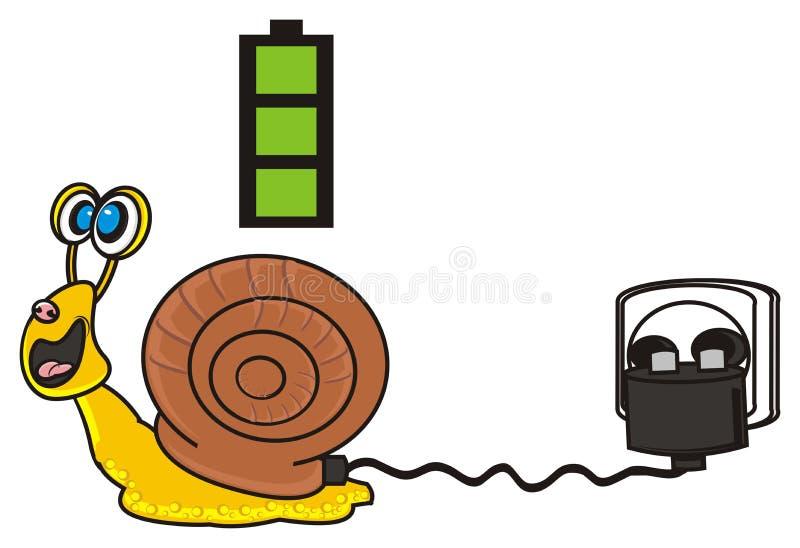 Snigeln laddar dess batteri stock illustrationer