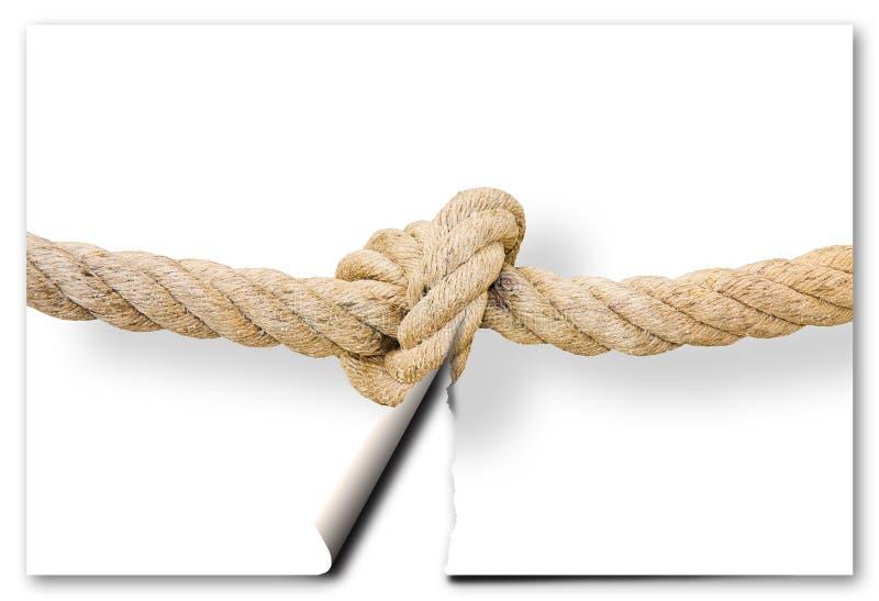 Snijd de gordian knoop - probleem het oplossen conceptenbeeld met een gescheurde foto van een knoop royalty-vrije stock fotografie