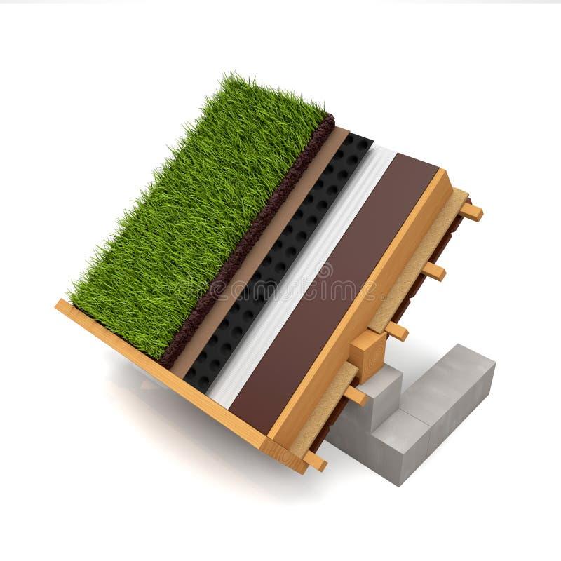 Snijd het groene dak van de dakbouw op een wit royalty-vrije stock afbeelding