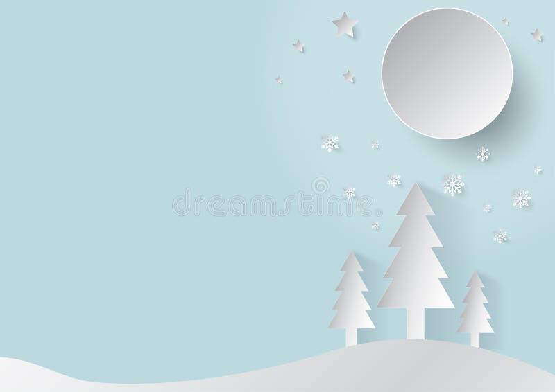 Snijden het de Kerstmis blauwe achtergrond en document concept met de sneeuwvlok en de boom van de maanster royalty-vrije stock foto